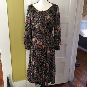 vtg Prairie Bohemian Tiered Dress FALL FLORAL 10